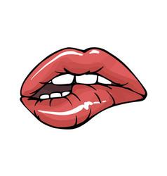 Sexy lips teeth biting lips facial expression vector