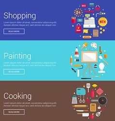 Shopping Painting Cooking Flat Design Concepts for vector image