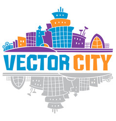 simple fantastic house city lettering use it vector image
