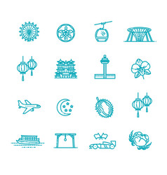 singapore icon set thin line icon vector image