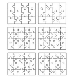 Six white puzzles vector