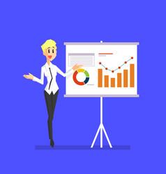 smiling businesswoman explaining information vector image