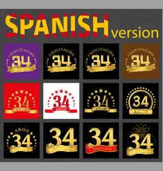 spanish set of number thirty-four 34 years vector image
