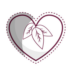 Sticker heart with leaves inside vector