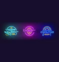 Stock set neon signboard vector