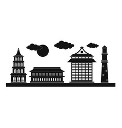 taipei city icon simple style vector image