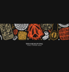 Thanksgiving food banner design in color vector