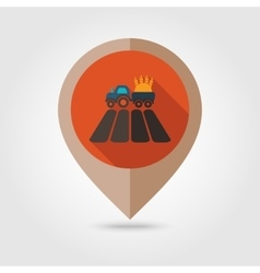 Tractor on field flat mapping pin icon vector