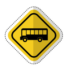 Traffic signal with bus vehicle isolated icon vector