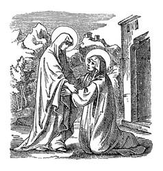 Vintage drawing biblical story virgin mary vector