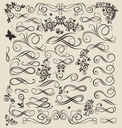 Vintage floral decorative elements vector
