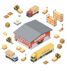 warehouse storage and delivery isometric icons set vector image
