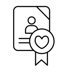 Wedding document thin line icon newlyweds form vector