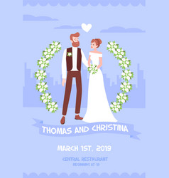 Wedding invitation with newlyweds names vector