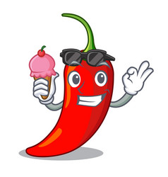 with ice cream character red chili pepper for vector image