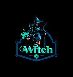 woman witch with a magic broom vector image
