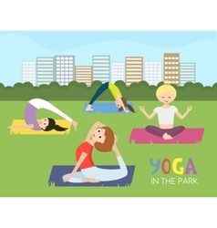 Women doing yoga in the park vector