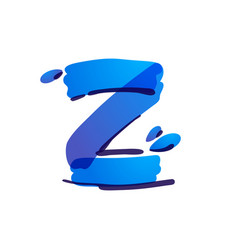 Z letter eco logo with blue water drops vector