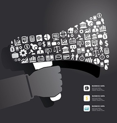 Elements are small icons Finance make in megaphone vector image