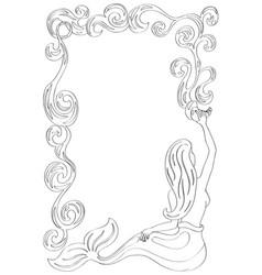 mermaid frame with water flow mermaid coloring vector image