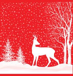 snow winter landscape deer merry christmas card vector image vector image
