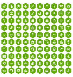 100 happy childhood icons hexagon green vector image vector image