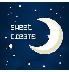 Cartoon sleeping moon vector image