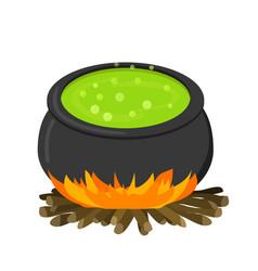 Cauldron on firei in flat style vector
