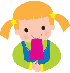 little girl popsicle vector image vector image