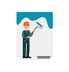 male professional painter in uniform holding a vector image vector image
