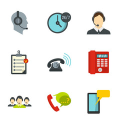 phone and call center icons set flat style vector image