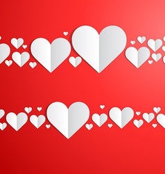 Valentines Day card with cut paper hearts vector image vector image