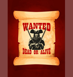 wanted dead or alive poster vector image vector image