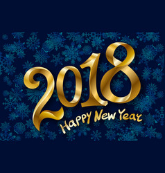 2018 new year gold glossy numbers design blue vector