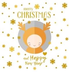 Christmas greeting card reindeer vector