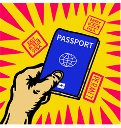 hand holding passport and visa entry stamp around vector image vector image