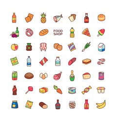 icons food shop vector image