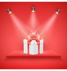Red Presentation platform and gift box vector image