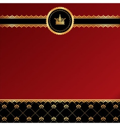 Vintage red background with golden ornamental vector image vector image