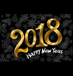 2018 new year gold glossy numbers design black vector image