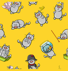 cartoon pattern design with cats vector image vector image