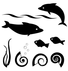 Fish silhouettes set 1 vector image vector image