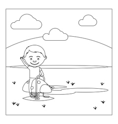 KId on playground coloring book design vector image