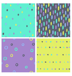 set of bright paint drops seamless patterns vector image vector image