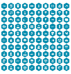 100 earth icons sapphirine violet vector