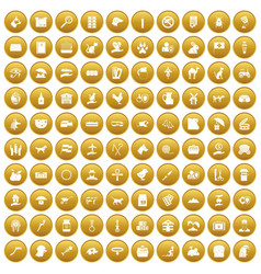 100 pets icons set gold vector
