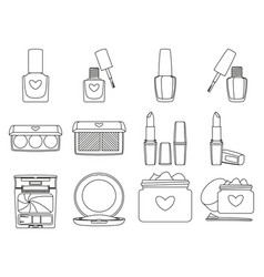 12 line art black and white make up elements vector image