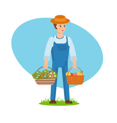 A farmer with baskets full flowers vegetables vector