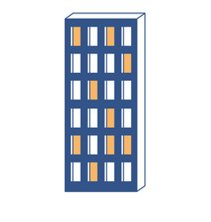 apartment building icon in color sections vector image