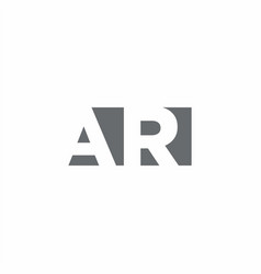 Ar logo monogram with negative space style design vector